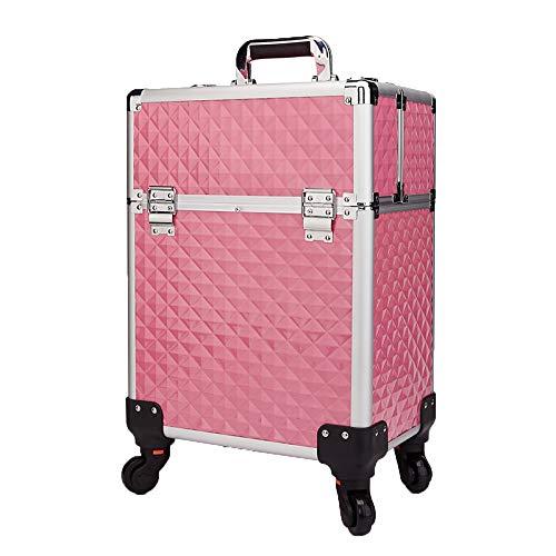 Große Kosmetiktasche Universal-Rad Beauty Box Vanity Case Friseur-Organizer Für Salon, Beauty Studio, Professional Makeup Artist,Pink