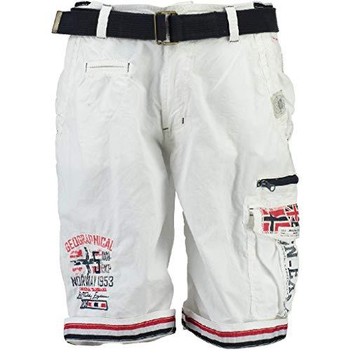 Geographical Norway - Bermudas para hombre con bolsillos con logotipo blanco L