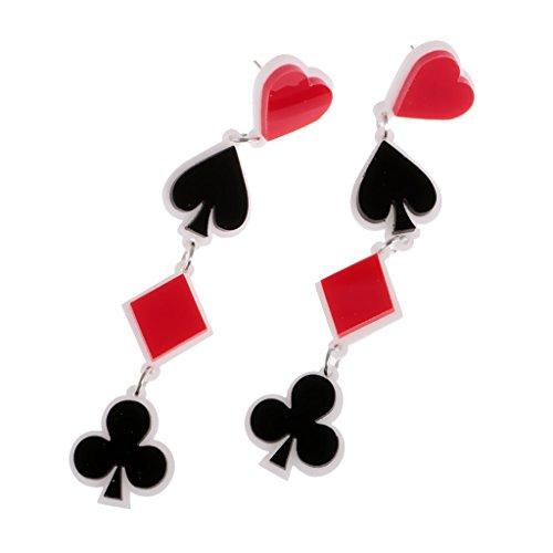 MagiDeal Pendientes Póker de Acrílico Colgante de Corazón Pica Diamante Trébol de Naipe