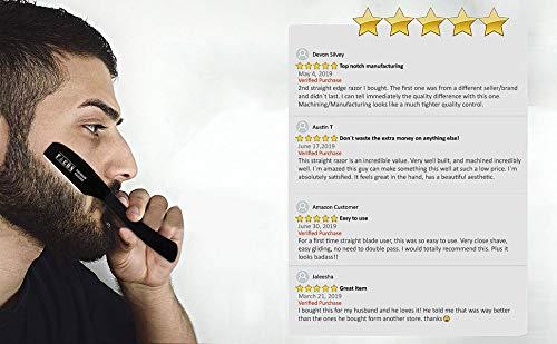 100 BLADES + Facón Professional Standard Japanese Straight Edge Feather Barber Razor - Salon Quality Cut Throat Shavette