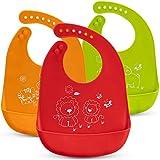 Baberos de bebé Impermeables – 3 paquetes de baberos de silicona – Lavable a máquina – 7 tamaños ajustables – lavable a máquina – Bolsa de comida sin ensuciar