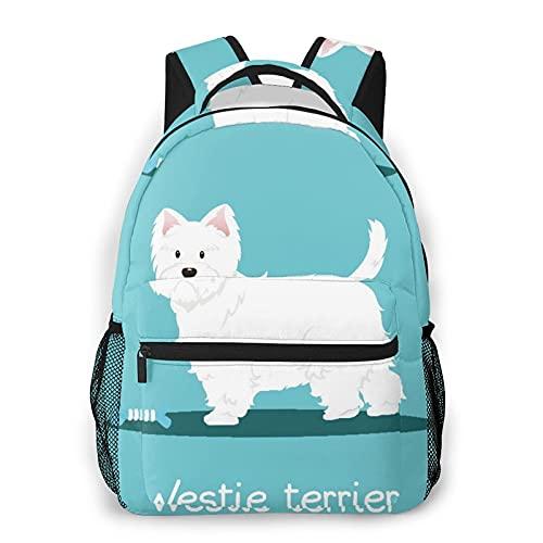 USOPHIA Zaino multiplo per il tempo libero,Corpo Westie Terrier Osso di cane Cielo Anima, sport da viaggio Borsa da scuola per studenti universitari giovani adulti