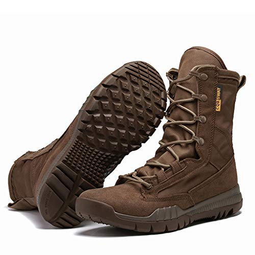 Men's Military Combat Boots,Mid Calf High Boots Wear-Resistant Walking Hiking Outdoor Shoe Goosun Anti-Skid Desert Boots High top Sneakers Flat Ankle Boot Lace up Shoes Brown
