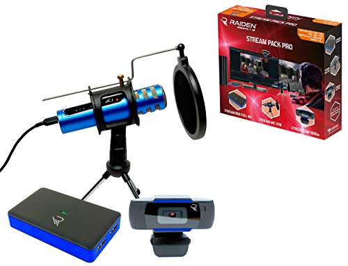 Raiden - Zubehörpaket für Streaming-Gamer und Youtubers, Full HD Video Capture Box, Mikrofon, HD-Kamera - PS4, PS5, Xbox serie x: Xbox One, Umschalter, PC