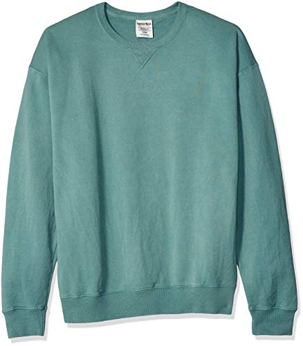 Hanes Men's ComfortWash Garment Dyed Fleece Sweatshirt, Cypress Green, Large