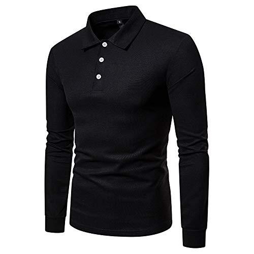 SFYZY Herrenmode Sporthemd Einfarbig Langarm Großformat Lässig Revers Polo Shirt Knopf T-Shirt O-Ausschnitt Pullover Workout Fitness Shirt Top