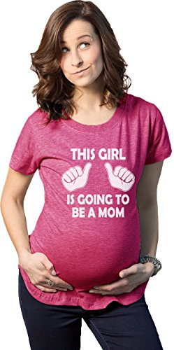 Crazy Dog Tshirts - Maternity This Girl is Going to be a Mom Shirt Cute New Baby Announcement Tee (Pink) - 3XL - Femme