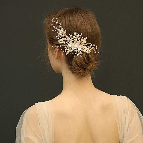 Coiffure de mariée, pince à cheveux, pince de bord accessoires de mariage à la main, forme de feuille, pince à bec de canard