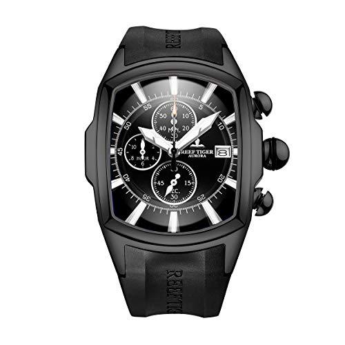 REEF TIGER Herren Uhr analog Quartz mit Kautschuk Armband RGA3069-T-BBB