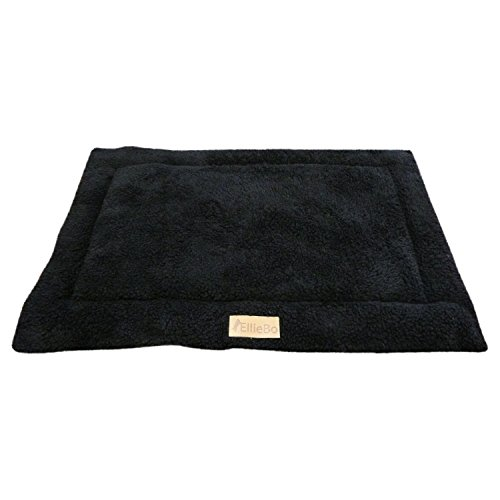 Ellie-Bo Sherpa Fleece Mat Bed in Black - Fits 36' Cages and Crates