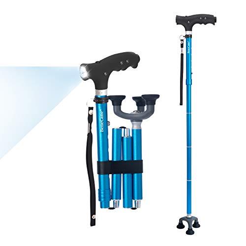 BeneCane Walking Cane Folding Cane Adjustable Cane for Men Women Seniors LED Light Fold-up Lightweight Sturdy 3-Rubber Feets Portable Walking Stick - Balancing Mobility Aid (Blue)33'-37'