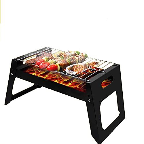 Parrilla de barbacoa pequeña, barbacoa de carbón plegable para picnic en la terraza al aire libre, estufa de ahumador simple de acero inoxidable, parrilla portátil, para parrilla de camping de mesa