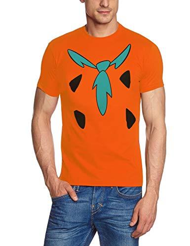 Fred FEUERSTEIN The Flintstones Origineel T-shirt oranje kostuum carnaval maat S, M, L, XL, 2XL.
