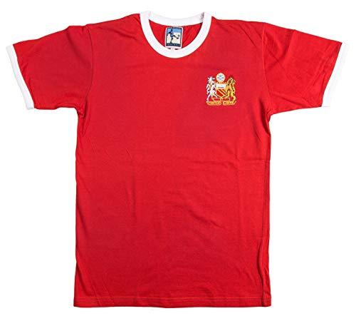 Old School Football Manchester United - Maglietta da Calcio Anni '70, Taglie S-XXXL con Logo Ricamato, Rosso e Bianco, M