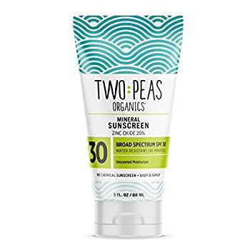 Two Peas Organics - All Natural Organic Sunscreen Lotion - Coral Reef Safe - Baby Kid & Family Friendly - Chemical Free Mineral Based Formula - Waterproof & Unscented - SPF 30 - 3oz