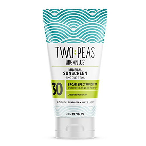 Two Peas Organics - All Natural Organic Sunscreen Lotion - Coral Reef Safe - Baby, Kid & Family Friendly - Chemical Free Mineral Based Formula - Waterproof & Unscented - SPF 30-3oz