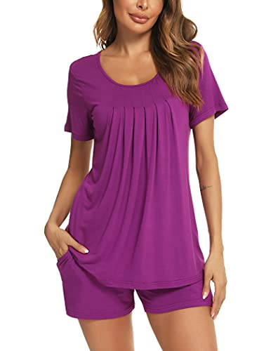 Roojaa Womens Pajama Set Pleated Loose Short Sleeve Pjs Soft Summer Casual Sleepwear