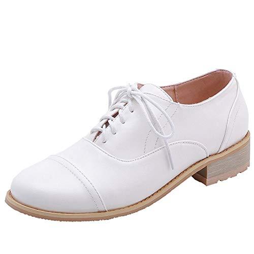 Lydee Damen Schuhe Casual Brogue Schuhe Schnüren Flach Oxford Schuhe White Gr 35