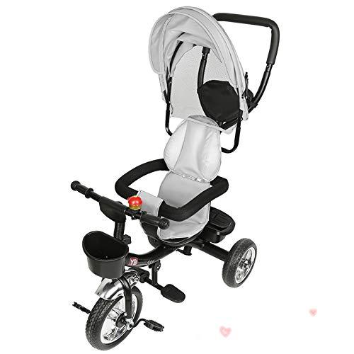 YIZHE 4 in 1 Kinderdreirad Tricycle für Kinder ab 12 Monate bis 5 Jahren mit Abnehmbarer Sonnendach&Schubstange Dreiräder,Jogger, mit Dachfenster, Sicherheitsgurte, 360 Grad Drehbar, Freilaufrad,grau