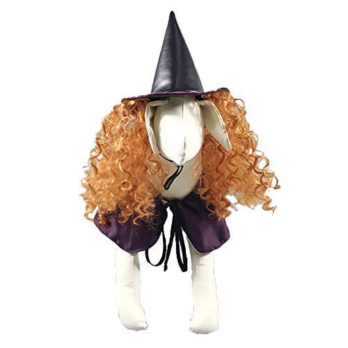FOReverweihuajz Grappige Decoratie Halloween Hond Kleding T-Shirt Zachte Heks Pruik Hoed Jurk Mantel Cos Speel Cape Kleding Kostuum voor Huisdieren Outfits, S, Paars
