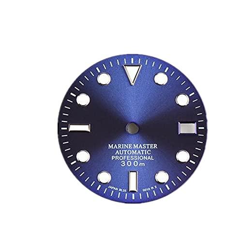 Reemplazo 28.5mm verde luminoso reloj dial para NH35 movimiento Accesorios naranja/gris/blanco/negro/verde/azul opcional, Azul / Patchwork,