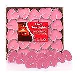 Ailiebhaus 50er herzförmige Kerzen, rauchfreie Teelichter, für Geburtstag, Vorschlag,Hochzeit,Party, Rot, Hochzeit Verlobung, Valentinstag (Rosa)