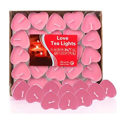 Adkwse 50er Teelichter, Herzform Romantische Kerzen Rauchfreie Herzkerzen für Geburtstag, Vorschlag, Hochzeit, Party, Rot, Hochzeit Verlobung, Valentinstag (Rosa)
