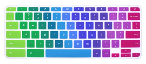 Silicone Keyboard Cover Skin for Acer Chromebook R11 CB3-131 CB5-132T, Acer Chromebook R13 CB5-312, Acer Chromebook 14 CB3-431 CP5-471, Acer Chromebook 15 CB3-531/532 CB5-571 C910 (Rainbow)