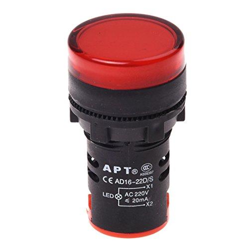 SODIAL(R) AC 220V Rojo LED Lampara luz unica piloto de indicador de potencia LED 22mm
