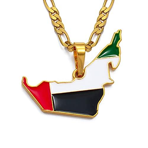 Vereinigte Arabische Emirate Karte Flagge Anhänger Halskette Damen Herren Gold Karte Verwenden