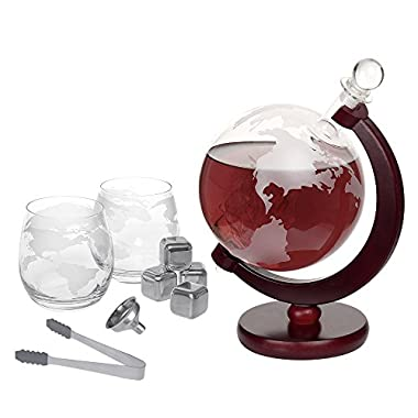 Whiskey Decanter Set 1500ml Liquor Decanter World Etched Globe Decanter with Crafted Glass Sailing Ship
