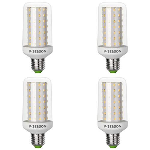 SEBSON® Ra 95 Serie + flimmerfrei, E27 LED Lampe 12W warmweiß, ersetzt 70W, 1000lm, 3000K, 230V LED Leuchtmittel Maiskolben, 4er Pack