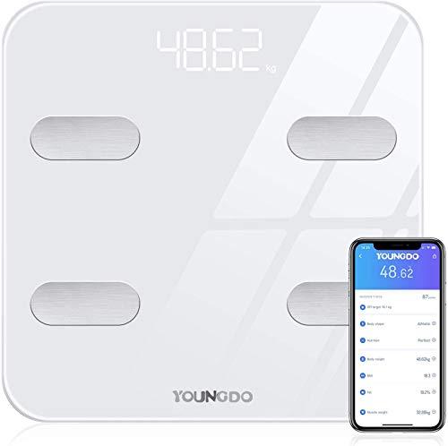 YOUNGDO stabile Körperfettwaage 30x30cm, Smart Digitale Waage mit Bluetooth App, Digitale Personenwaage bis 180kg, Körperanalysewaage für 19 Daten - Körperfett, BMI, Muskelmasse, Protein, BMR, Weiß