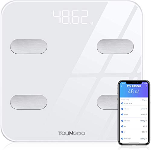 YOUNGDO Bluetooth Body Fat Scale - Weighing Scales with 19 Essential Health Measurements, BMI, Body Fat, Muscle, Bone Mass, Smart Bathroom Scale of Body Composition Analyzer with Smart App(ST/LB/KG)