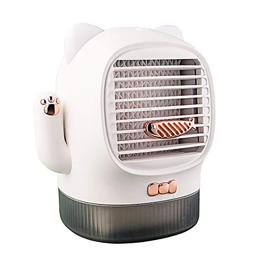 Cooling Fan, 400ml Portable Lucky Cat USB Air Conditioner Humidifier Office Mini Cooling Fan White USB Plug-in