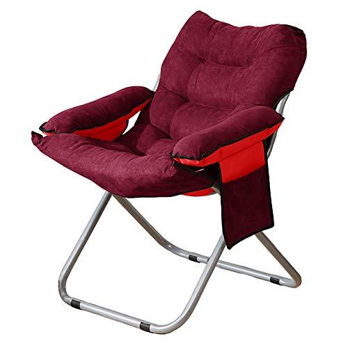 LZMXMYS Silla de salón al Aire Libre, Silla Plegable Lazy Sillón con Bolsa de Almacenamiento Antideslizantes casa Balcón reclinable sofá de la Sala 5 Colores (Color : Red)
