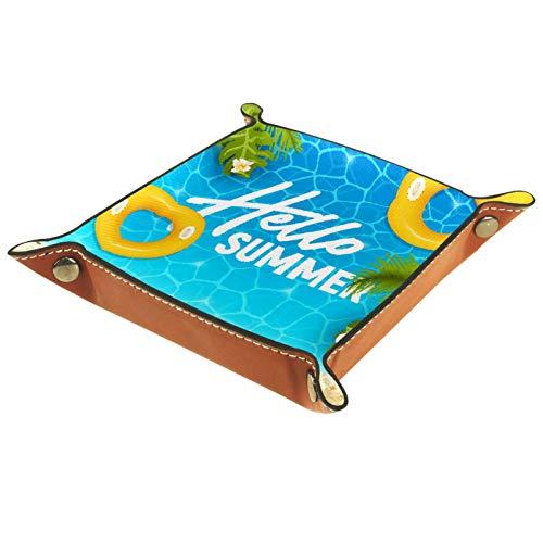 Bandeja de Cuero Hola playa de verano Almacenamiento Bandeja Organizador Bandeja de Almacenamiento Multifunción de Piel para Relojes,Llaves,Teléfono,Monedas