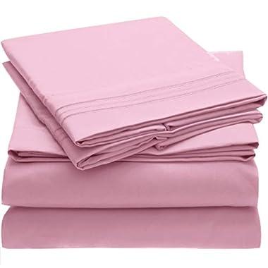 Mellanni Bed Sheet Set Brushed Microfiber 1800 Bedding - Wrinkle, Fade, Stain Resistant - Hypoallergenic - 4 Piece (King, Pink)