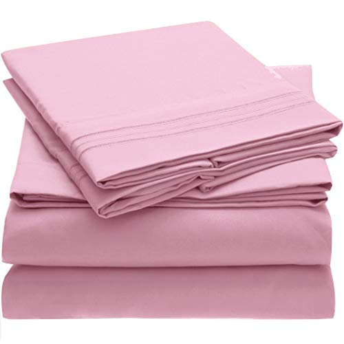 Mellanni Bed Sheet Set - Brushed Microfiber 1800 Bedding - Wrinkle, Fade, Stain Resistant - 4 Piece (Full, Pink)