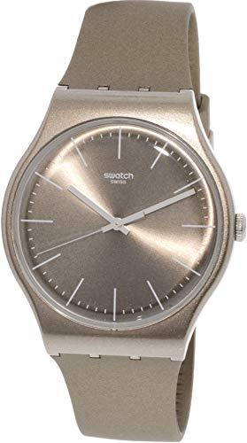 Swatch Powderbayang SUOM111 Tan Silicone Quartz Fashion Watch
