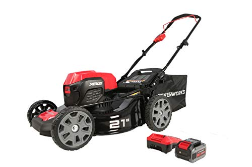 """POWERWORKS XB 40V 21"""" Brushless Cordless Push Mower, 4Ah Battery and Charger Included LMF414"""