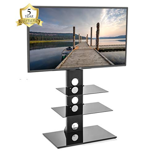 "Mountright Cantilever TV Stand for 27"" - 60"" inch TVs LCD LED Plasma - Precision Engineered Universal Free Standing Tall TV Stand with Swivel - Simple Setup, Height Adjustable, 3 Shelf - UK Warranty"