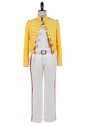 Queen Lead Vocals Freddie Mercury Chaqueta Amarilla Cosplay Disfraz Hombre S