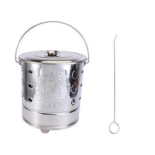 Yardwe 1 Set Stainless Steel Burn Barrel Incinerator Cage Barrel Fire Pit with Burning Tongs for Yard Home Outdoor ( 9 X 9 X 11 inch )