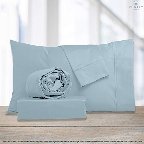 Purity Home 300 Thread Count 100% Combed Cotton Sheet Set, 3 Piece Set, Bestselling Twin Sheets Percale Weave, Classic Z Hem, Cool & Breathable, Patented Fitted Sheet Fits Up to 16' Deep Pocket, Aqua