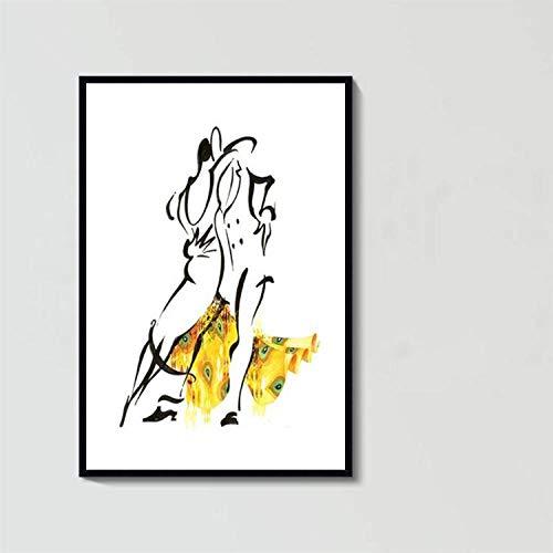 Olieverfschilderijen Op Doek Handgeschilderd, Abstract Figuur Schilderij, Cartoon Zwarte Lijn Gele Jurk Danser, Grote Maat Modern Huis Decoratieve Artwork Voor Woonkamer gang Entree Slaapkamer Eetkamer W 140 x 210 cm