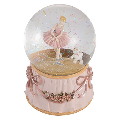 Ballerina Snow Globe Plays Greensleeves Music Ballet Dancing Girl with Kitten Rotating Mechanical...