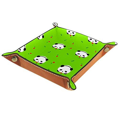 MUMIMI Schmucktablett für Damen und Mädchen, Leder, quadratisch, für Muttertag, Geburtstag, isoliert, riesige Pandas und Orchideen, Leder, Farbe5, 20.5x20.5cm