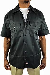 ディッキーズ 半袖 ワークシャツ Dickes 黒 ブラック メンズ 男女兼用 大きい ボタンダウン sb36