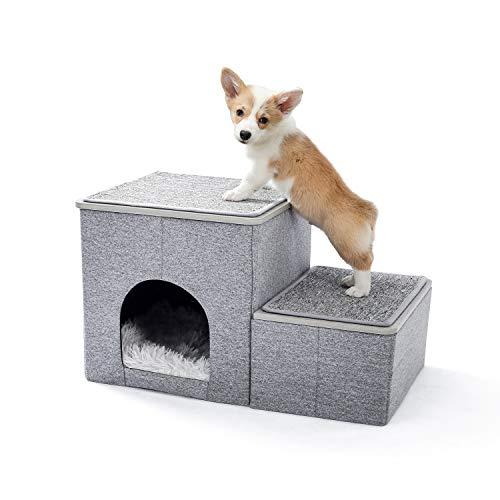 Amazon Brand – Umi Faltbare Haustiertreppe 2 Stufen für Hunde Katzen Multifunktionale Hundetreppe für Bett oder Auto mit Zwinger & Aufbewahrungsbox Nützliche 2 Stufen Stufenrampe für Hunde Grau